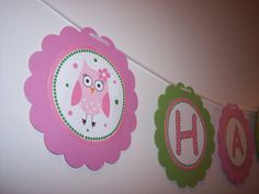 Pink owl birthday banner