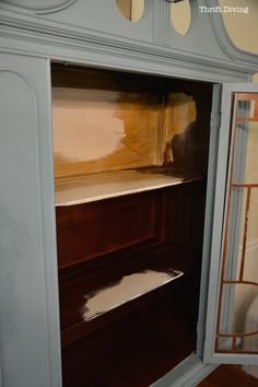 China Cabinet Makeover - Bleed-through can happen when painting over mahogany stain. Cover existing stain with de-waxed shellac to prevent bleed-through. Painted China Cabinets, Antique China Cabinets, Antique Hutch, Painted Hutch, Chalk Paint Furniture, Painted Furniture, Furniture Refinishing, Rustic Furniture, Furniture Ideas