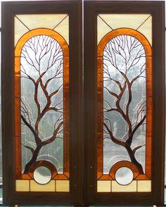 Tree Cabinet doors made by artist Kim P. Stained Glass Cabinets, Glass Kitchen Cabinet Doors, Kitchen Cupboards, Stained Glass Windows, Door Tree, Custom Stained Glass, First Art, Glass Art, Kitchen Ideas