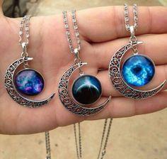 Image via We Heart It https://weheartit.com/entry/154805516 #Dream #love #moon #necklace #pendants #stars #universe #aglomerados