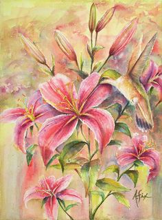 Attractive Fragrance Art Print by Arthur Fix. All prints are professionally printed, packaged, and shipped within 3 - 4 business days. Choose from multiple sizes and hundreds of frame and mat options. Bird Prints, Flower Prints, Flower Art, Lily Wallpaper, Thing 1, Prints For Sale, All Print, Fine Art America, Watercolor Paintings