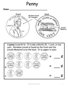 This worksheet is part of my new activity package Money Identification.  If you teaching young children how to identify money and want large visuals this package is for you.  Money is a somewhat difficult task for young children to identify.  For a young child, all coins seemingly look alike and are hard to identify and from their perspective a coin is quite small.
