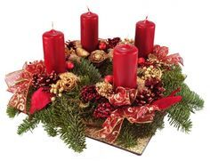Advent Wreath With Red Candles Isolated On White. Royalty Free Stock Photo, Pictures, Images And Stock Photography. Christmas Advent Wreath, Christmas Candles, Christmas Time, Christmas Crafts, Christmas Wedding Centerpieces, Christmas Floral Arrangements, Christmas Table Decorations, Red Candles, Diy Décoration