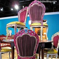 Look at the English Yellow seats and bright fuschia! All colors that are achievable from Chalk Paint(R) by Annie Sloan colors.
