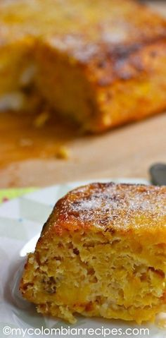 Torta de Maduro Ripe Plantain and Cheese Cake My Colombian Recipes Colombian Desserts, Colombian Dishes, My Colombian Recipes, Colombian Food, Latin American Food, Latin Food, Healthy Recipes, Sweet Recipes, Cooking Recipes