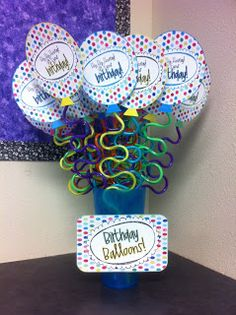 Birthday Balloons- Did this last year with a pencil/eraser and had loads of trouble with the eraser making the balloons fall apart. Like this idea with maybe a Kool-Aid packet in the balloon!