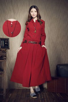 Red Winter Dress,Wedding Dress Pleated Maxi Dress, Evening Dress, Red Dress, Custom Made - XS - XL, XXL, plus size Women