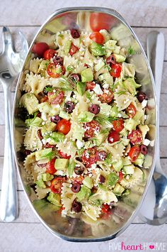Tomato Cucumber Pasta Salad with Avocado, Kalamata Olives, Feta, and Fresh Dill : FiveHeartHome Cucumber Pasta Salad, Pasta Salad Recipes, Feta Pasta, Bow Pasta Salad, Tomato Pasta Salad, Bbq Salads, Summer Salads, Vegetarian Recipes, Cooking Recipes