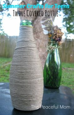 Crafts for Teens-Twine Covered Bottle  --The Peaceful Mom #summer