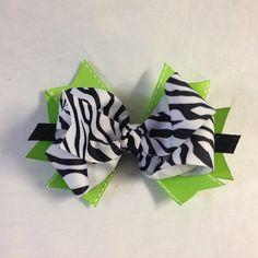 Lime green & zebra hair bow