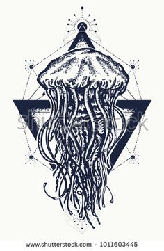 Jellyfish tattoo geometric style. Mystical symbol of adventure, dreams, deep sea. Creative geometric jellyfish tattoo art t-shirt print design poster textile