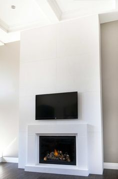 Wonderful White Black Wood Glass Modern Design Fireplaces Interior Mantels Surrounds Boxfire Frame Wallmounted Flat Tv At House With French Fireplace Mantels  And Custom Fireplace , Wonderful Ideas Fireplace Mantel Surrounds Designs: Furniture, Interior