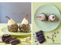 Chocolate dipped pears with pistachio crunch #Expo2015 #milan #worldsfair #Chocolate #dipped #pears #pistachio #crunch