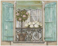 size: Art Print: French Shutters Wall Art by Stefania Ferri by Stefania Ferri : Entertainment Retro Kunst, Retro Art, Art Floral, Shutter Wall, Decoupage Paper, Mail Art, Botanical Art, Vintage Flowers, Vintage Images