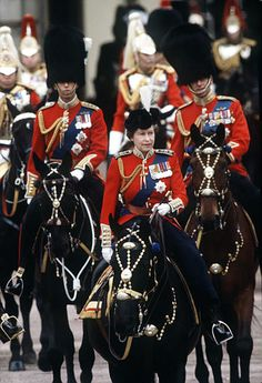 HM Queen Elizabeth II on her horse Burmese, Trooping the Colour, 1980