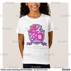 Emily name meaning 8th birthday princess knight t-shirt. This birthday shirt can be personalized with your own name, birthday age and name meaning. Original art and design by Sarah Trett for www.mylittleeden.com #8thbirthday #emily