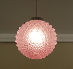 Vintage Pendant Ceiling Light Mid Century PINK Diamond Point Glass Globe Chrome Fixture - New Wiring