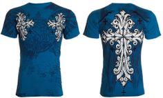 Throwdown Affliction Tattoo Redemption Cross Wings Fight Biker UFC T Shirt Men L for sale online Shirt Men, Affliction Clothing, Biker, Wings, Tattoos, Mens Tops, Shirts, Clothes, Tatuajes