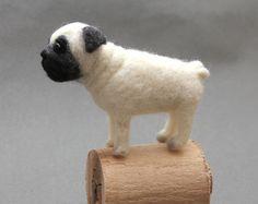 Pug dog miniatures, needlefelted toy, pets portrait, miniature toys, mini pet pug