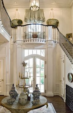 FOYER – great example of an impressive way to welcome guests. The Enchanted Home: Are you a member of the blue and white club? And a blue and white contest! House Design, House, Beautiful Interiors, White Decor, New Homes, Beautiful Homes, Elegant Interiors, Enchanted Home, Stairs