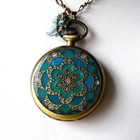 Teal Blue &  Emerald Mandala Pocket Watch Locket Pendant Necklace  with Matching Earrings and Spring Ring Clasp
