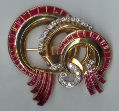 antique art deco ruby diamond brooch