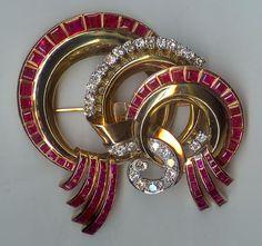 antique art deco ruby diamond brooch