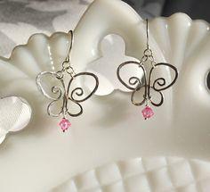 Art Nouveau Sterling Silver & Birthstone Butterfly Earrings