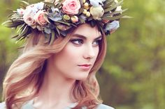 Beautiful blonde woman with flower wreath on her head by Oleg Gekman on 500px