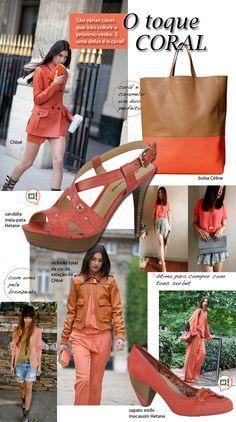A cor Coral - layout criado para postagem no blog da marca Hetane. Coleção Verão 2012.