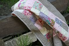 Little Liberty quilt by Ashley of FITF.  Sometimes the simplest quilts are the best.  I love some good ol' patchwork squares.