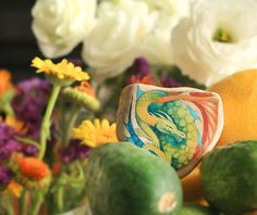 Stone with a hand-painted rainbow dragon home decor by SkadiaArt