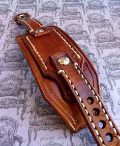 Leather watch band Customizable Watch Band by CuckooNestArtStudio, $102.00
