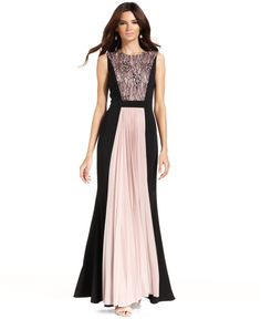 JS Collections Contrast Lace-Panel Pleat Gown - Dresses - Women - Macy's