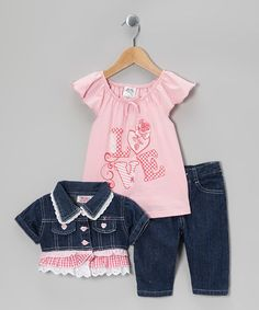 Another great find on #zulily! Pink Denim Ruffle Cropped Jacket Set - Infant #zulilyfinds
