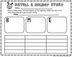 RETELL printable included in CHRISTMAS Writing for Firsties by First Grade Schoolhouse. FIRST GRADE. $ Packed with FUN Christmas writing activities!    http://www.teacherspayteachers.com/Store/First-Grade-Schoolhouse