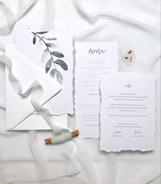 Simple white wedding stationery with torn edges and minimal watercolor leaf design. Watercolor Wedding Invitations, Wedding Stationery, Watercolor Leaves, Watercolor Paintings, Luxury Wedding, Boho Wedding, Nordic Wedding, Minimalist Wedding, Leaf Design