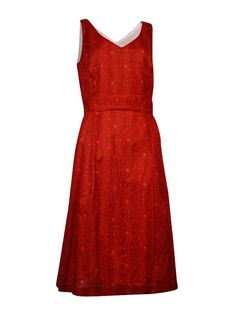 Anne Klein Women's V-Neck A-Line Dress (10, Apple Cinnamon Combo)