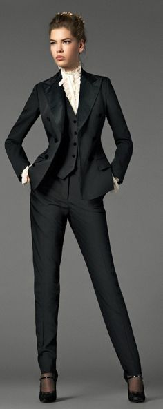 While a tad formal for my office (we are business casual, not business formal), I love the structure/fitted look of this suit. I like the look of a fitted vest over a crisp white button-blouse. Business Fashion, Office Fashion, Business Attire, Work Fashion, Classic Fashion, Business Suits For Women, Gothic Fashion, Fashion Clothes, Street Fashion