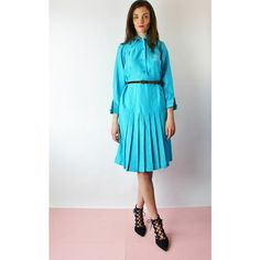 Re:dream Vintage 50s Button Front Pleat Skirt Midi Shirt Dress ($45) ❤ liked on Polyvore featuring dresses, blue, blue shirt dress, vintage cotton dress, blue long sleeve dress, blue dress and collared shirt dress