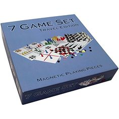 Kathleen Blue 7 Combo Classic Board Game Set with Magnetic Pieces  Tictactoe Checkers Backgammon Chess Snakes and Ladders Chinese Checkers Ludo  75 Inch -- Find out more about the great product at the image link.