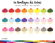 50 Rainbow Cupcake Clip art Cute Digital by LaBoutiqueDeiColori