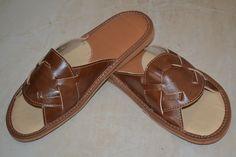 Mens Real Brown Leather Slippers Kapcie Handmade