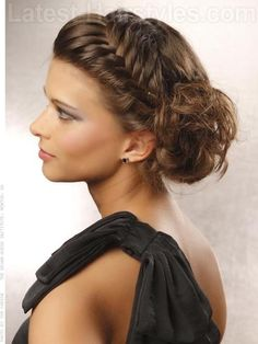 Braided fringe and bun! Cute!