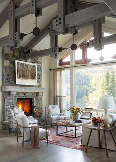 Mountain Home Living room flooring. The floors of this mountain home living room are specially treated white oak. A combination of bleaching…
