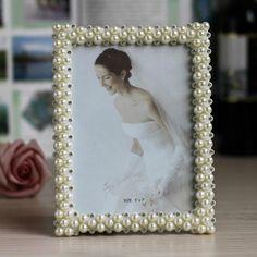 Barato ABS photo frame retângulo com pérolas e strass decoração, Compro Qualidade Moldura diretamente de fornecedores da China: