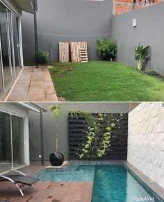 house exterior before and after \ house exterior ` house exterior colors schemes ` house exterior design ` house exterior colors ` house exterior ideas ` house exterior farmhouse ` house exterior before and after ` house exterior uk Small Backyard Pools, Backyard Pool Designs, Small Pools, Swimming Pools Backyard, Patio Design, Backyard Landscaping, Pool Garden, Outdoor Spaces, Outdoor Living