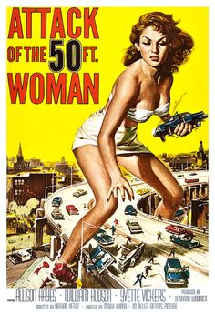Attack of the 50 ft. Woman - Home Theater Decor - Horror Monster Movie Poster Print  13x19 - Vintage B Movie Poster - 50s kitsch