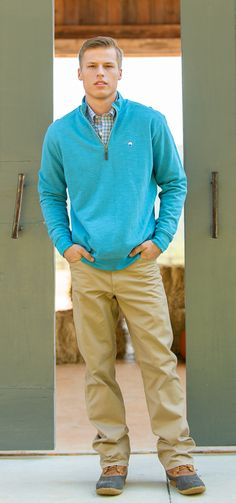 Pair a SSCO button down with the Pique Knit Pullover for a classy & casual outfit. #southernshirt