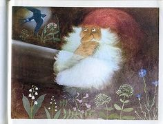 goodmemory: The Tomten and the Swallow From Astrid Lindgren's The Tomten books illustration by Harald Wiberg via Christmas Tale, Christmas Gnome, Fairy Land, Fairy Tales, Illustrator, Dream Fantasy, Scandinavian Gnomes, Forest Creatures, Book Illustration